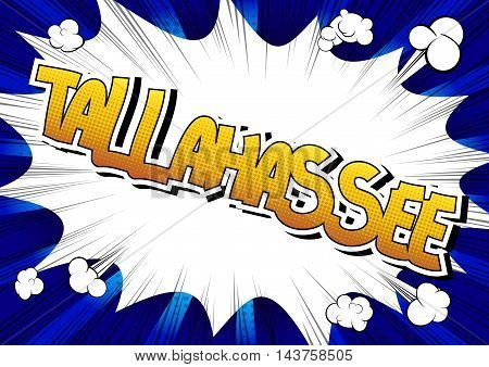 Tallahassee - Comic book style word on comic book abstract background.