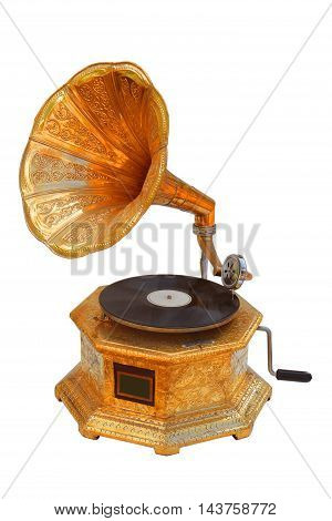The a Vintage a gramophone isolated on white.