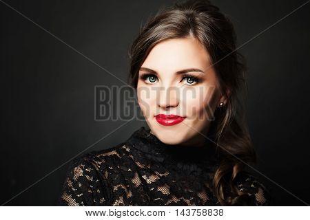 Cute Woman. Beautiful Makeup Red Lips and Eye Shadow