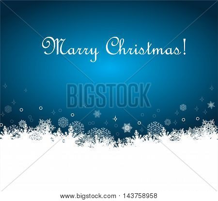 Christmas background with white snowflakes, vector illustration