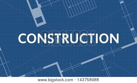 illustration of blueprint construction word and house on blue backgound