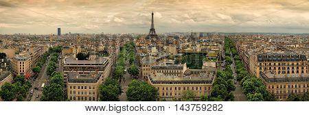 the a Paris panoramic aerial view france