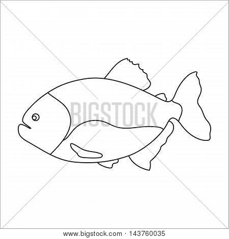 Piranha fish icon cartoon. Singe aquarium fish icon from the sea, ocean life collection.
