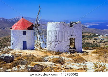 Traditional islands of Greece - old windmills in Amorgos, Cyclades