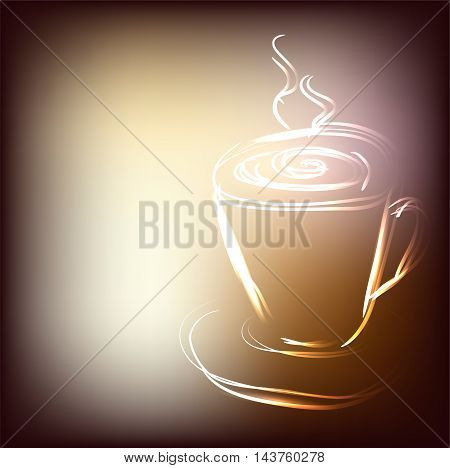 Beautiful cup of coffee in appetizing brown colors with place for your text, vector illustration