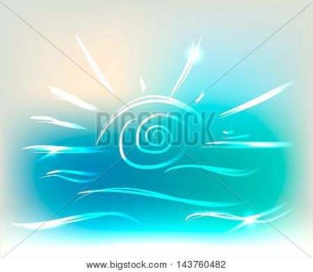 Beautiful sun and sea waves on colorful background with neon lights, vector illustration