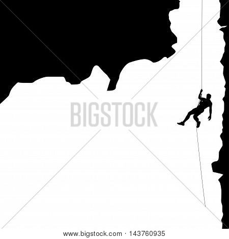 illustration of black color male rock climber silhouette hanging in big valley