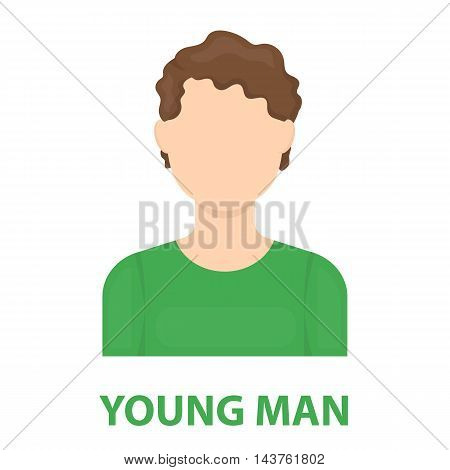 Curly boy icon cartoon. Single avatar, peaople icon from the big avatar collection.