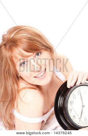 Sunny picture of woman with clock.