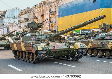 Kiev Ukraine - August 22 2016: Ukrainian tanks at the military parade rehearsal for 25 years of Ukraine's independence in Kyiv Ukraine.