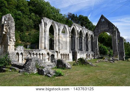 Beaumont le Roger France - august 11 2016 : the Holy Trinity priory
