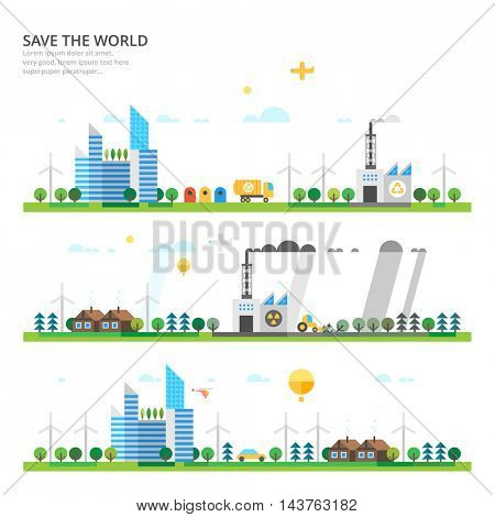 Vector info graphic - Save the World. Modern city. Ecosystem.