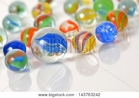 Macro marble balls with reflexions