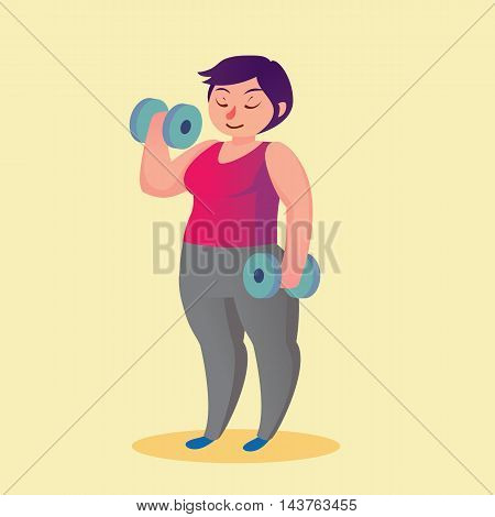 Obese Young Woman With Dumbbells Funny Cartoon Vector Illustration