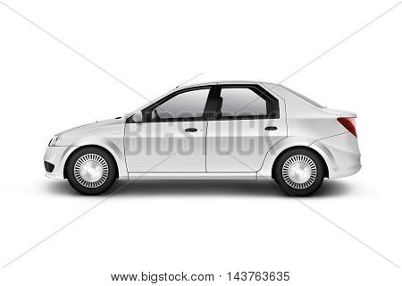 Blank white car design mockup isolated side view clipping path 3d illustration. Clear auto body mock up profile. Plain vechicle branding template. Sedan motor car presentation. Simple city machine