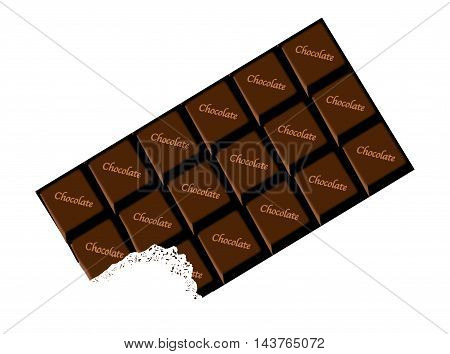 A typical bar of dark Chocolate with bite as a background