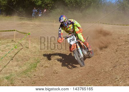 SARIEGO SPAIN - AUGUST 22: Legendary Sariego motocross test in August 22 2016 in Sariego Spain. Ivan Cervantes rider with the number 25.