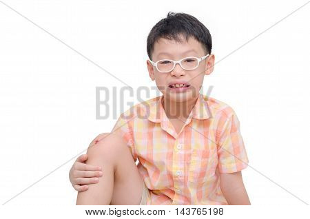 Young asian boy with wound on the knee