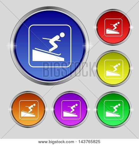 Skier Icon Sign. Round Symbol On Bright Colourful Buttons. Vector