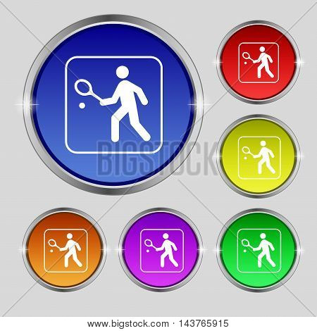 Tennis Player Icon Sign. Round Symbol On Bright Colourful Buttons. Vector