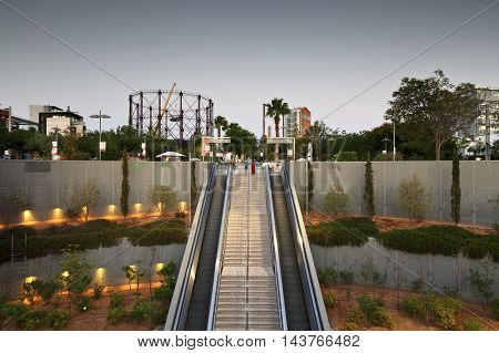 ATHENS, GREECE - AUGUST 21, 2016: Metro entrance in the main square in the Gazi neighbourhood of Athens on August 21, 2016.