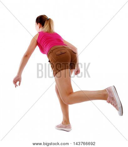 side view woman start position.  Rear view people collection.  backside view of person.  Isolated over white background. Sport blond in brown shorts runs off into the distance.