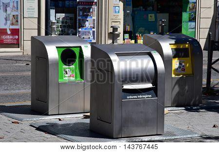 Les Mureaux France - july 19 2016 : trash cans