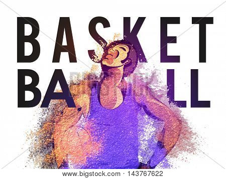 Creative illustration of Basketball Player with abstract splash, Typographic sports background, Can be used as Poster, Banner or Flyer design.