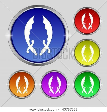 Saber Icon Sign. Round Symbol On Bright Colourful Buttons. Vector