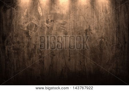 old wood board with spotlight background
