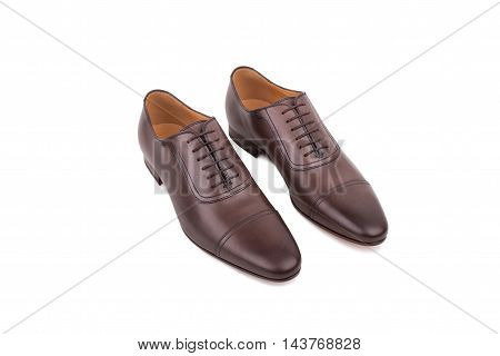 Brown Leather Shoes Isolated On White Background