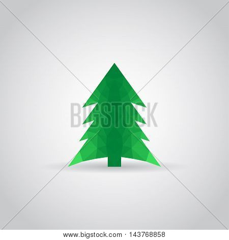 Spruce icon in polygonal style with shadow on a gray background. Vector illustration eps10