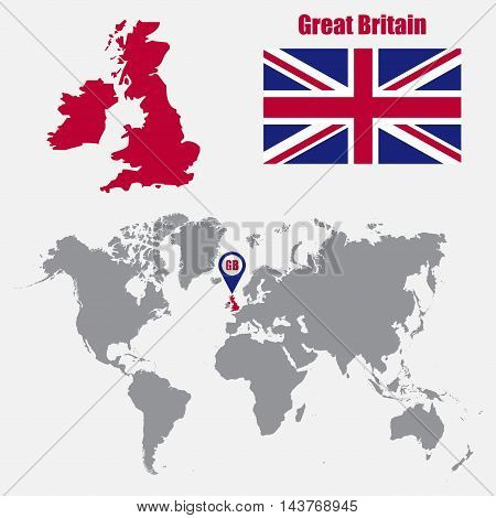 UK map on a world map with flag and map pointer. Vector illustration