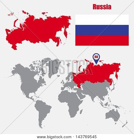 Russia map on a world map with flag and map pointer. Vector illustration