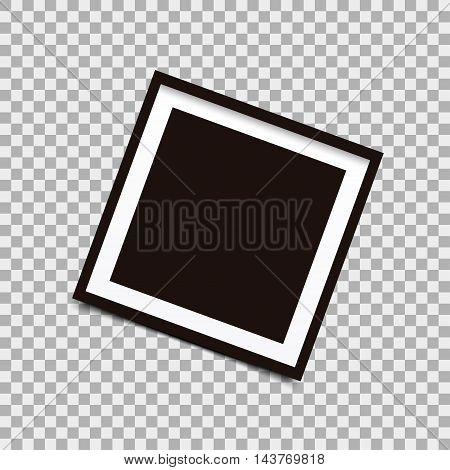 Square photo frame on background. Vector illustration