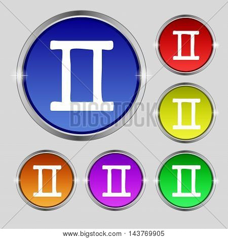 Gemini Icon Sign. Round Symbol On Bright Colourful Buttons. Vector