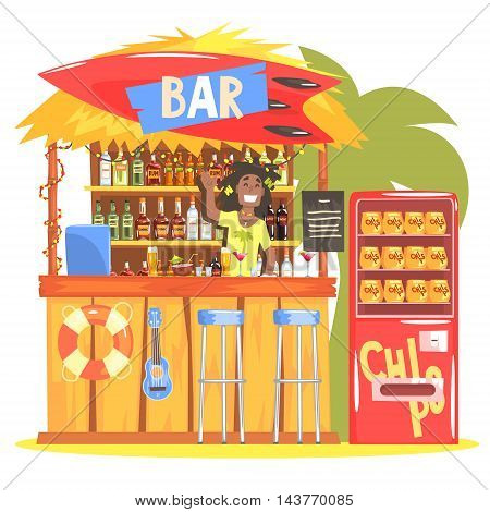 Beach Bar In Tropical Style Design With Smiling Rasta Barman. Bright Color Graphic Cool Flat Vector Detailed Illustration.