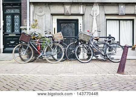 An image of four bicycles in Amsterdam