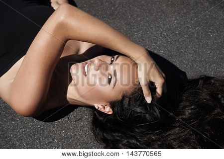 Woman's Closeup Portrait With Ideal Skin In Sunlight
