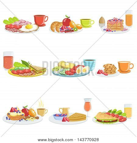 Breakfast Meal Different Sets. Collection Of Morning Menu Plates Illustrations In Detailed Simple Vector Design.