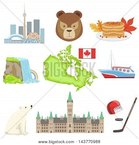 Canadian National Symbols Set Of Items. Isolated Objects Representing Canada On White Background
