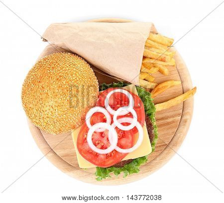 Tasty hamburger with french fries, isolated on white