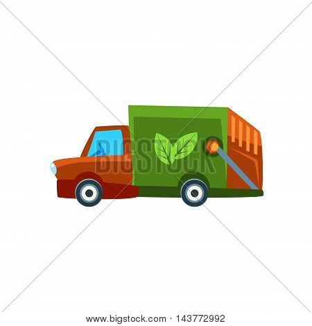 Orange Garbage Truck Toy Cute Car Icon. Flat Vector Transport Model Simple Illustration Isolated On White Background.