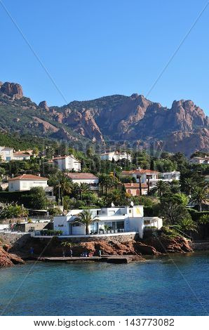 Saint Raphael; France - april 15 2016 : the Esterel seaside