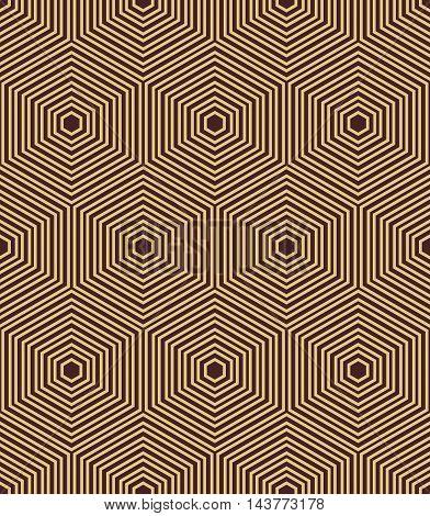 Geometric fine abstract vector golden hexagonal background. Seamless modern pattern