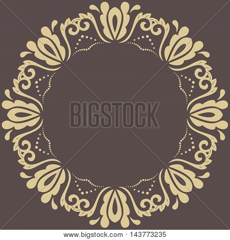 Oriental vector round golden pattern with arabesques and floral elements. Traditional classic ornament