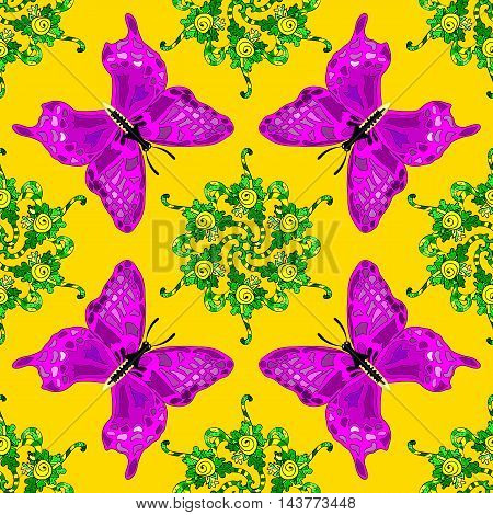 Yellow background with green floral doodlesn and lilac butterflies.