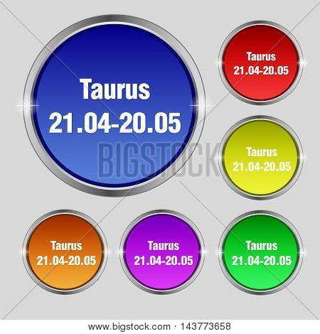 Taurus Icon Sign. Round Symbol On Bright Colourful Buttons. Vector