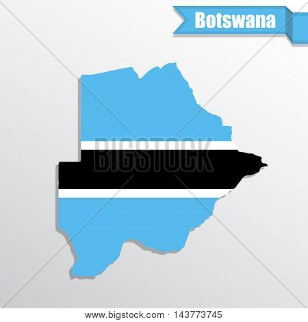 Botswana map with flag inside and ribbon