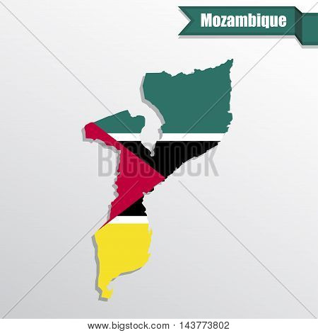 Mozambique map with flag inside and ribbon